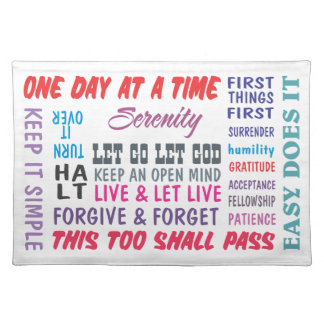 recovery slogans placemat