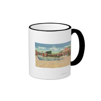 Recreation Bldg Interior Court and Pool View Ringer Mug