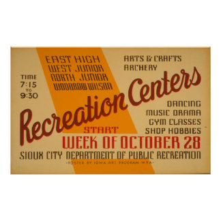 Recreation Centers Vintage WPA Poster