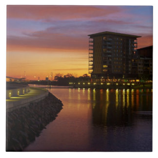 Recreation Lagoon and apartments at sunset Large Square Tile