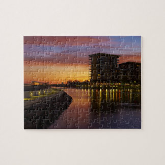 Recreation Lagoon and apartments at sunset Puzzle