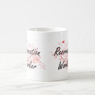 Recreation Worker Artistic Job Design with Butterf Basic White Mug