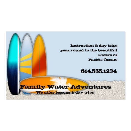 Recreational Surfing Surf Board Business Cards