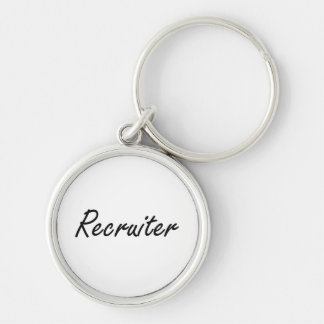 Recruiter Artistic Job Design Silver-Colored Round Key Ring