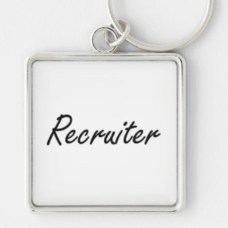 Recruiter Artistic Job Design Silver-Colored Square Key Ring