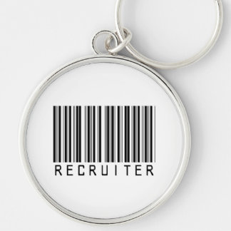 Recruiter Bar Code Silver-Colored Round Key Ring
