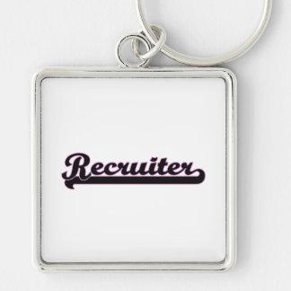 Recruiter Classic Job Design Silver-Colored Square Key Ring