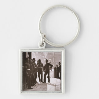 Recruiting Sergeants at Westminster, 1876-77 (wood Silver-Colored Square Key Ring