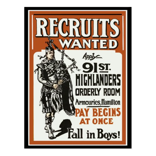 Recruitment 91st Highlanders Bagpiles WWI Postcard