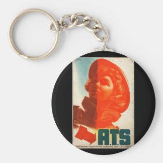 Recruitment ATS (girl's_Propaganda Poster Basic Round Button Key Ring