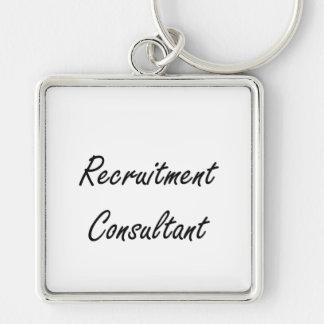 Recruitment Consultant Artistic Job Design Silver-Colored Square Key Ring