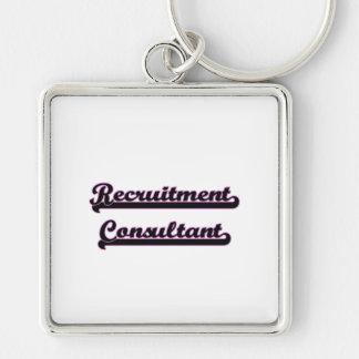 Recruitment Consultant Classic Job Design Silver-Colored Square Key Ring