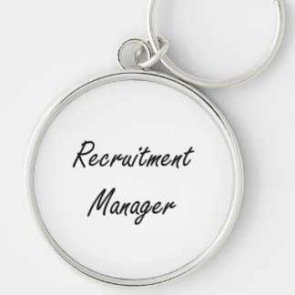 Recruitment Manager Artistic Job Design Silver-Colored Round Key Ring