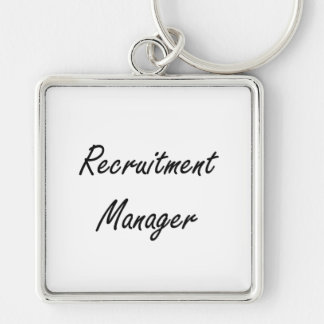 Recruitment Manager Artistic Job Design Silver-Colored Square Key Ring