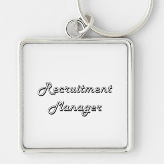 Recruitment Manager Classic Job Design Silver-Colored Square Key Ring