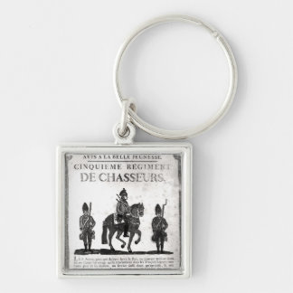 Recruitment poster for the Fifth Regiment Silver-Colored Square Key Ring