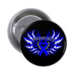 Rectal Cancer Awareness Heart Wings.png Pinback Buttons