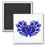 Rectal Cancer Awareness Heart Wings.png Fridge Magnets
