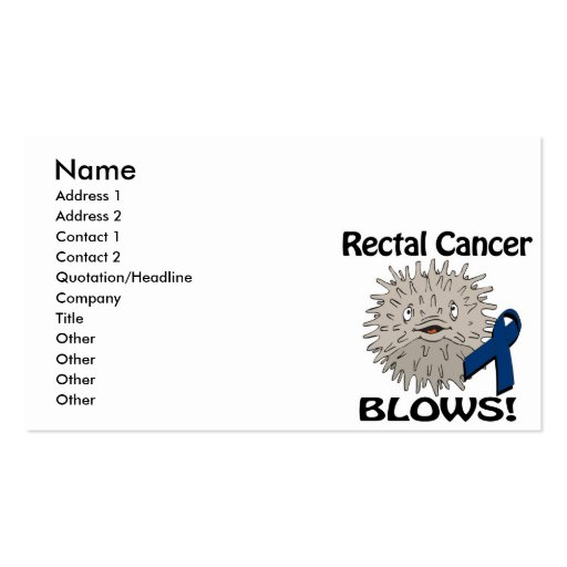 Rectal Cancer Blows Awareness Design Business Cards