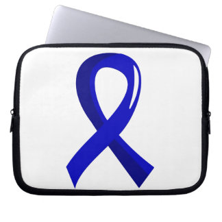Rectal Cancer Blue Ribbon 3 Computer Sleeve