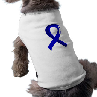 Rectal Cancer Blue Ribbon 3 Dog Tee Shirt
