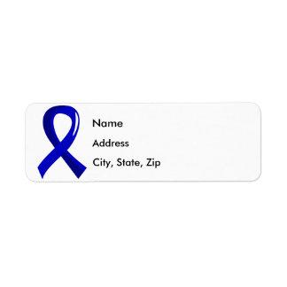 Rectal Cancer Blue Ribbon 3 Return Address Label