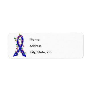 Rectal Cancer Christmas Lights Ribbon Return Address Label