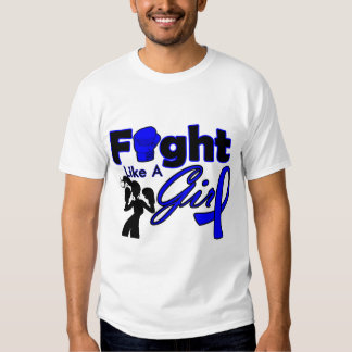 Rectal Cancer Fight Like A Girl Silhouette Tee Shirts