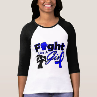 Rectal Cancer Fight Like A Girl Silhouette Tee Shirt