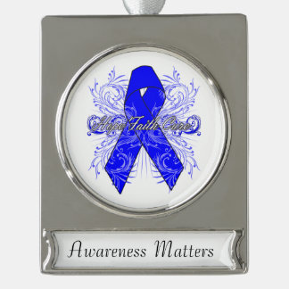 Rectal Cancer Flourish Hope Faith Cure Silver Plated Banner Ornament