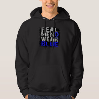Rectal Cancer Real Men Wear Blue Hooded Pullovers