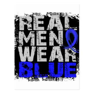 Rectal Cancer Real Men Wear Blue Postcard
