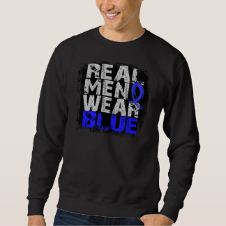 Rectal Cancer Real Men Wear Blue Pull Over Sweatshirts