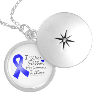 Rectal Cancer Ribbon Someone I Love Round Locket Necklace