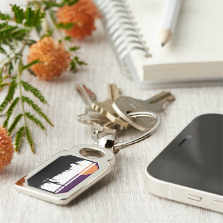 Rectangle AZ POSTCARD DESIGN Silver-Colored Rectangle Key Ring