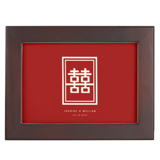 Rectangle Double Happiness Red Chinese Wedding Box Memory Boxes
