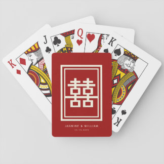 Rectangle Double Happiness Red Chinese Wedding Poker Deck
