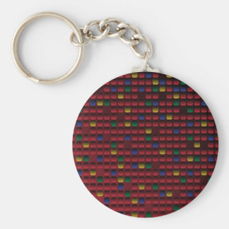 Rectangle Grid Basic Round Button Key Ring