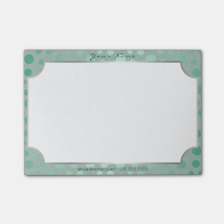 Rectangle Silver Frame Mint Teal Delicate Dots Post-it® Notes