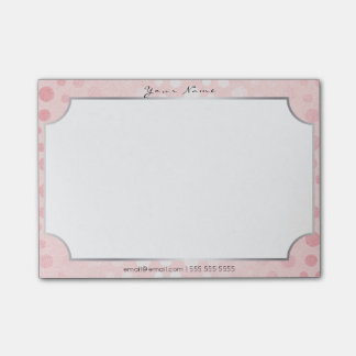 Rectangle Silver Frame Pink Rose Powder Dots Post-it® Notes