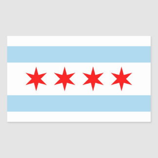Rectangle sticker with Flag of Chicago, U.S.A.