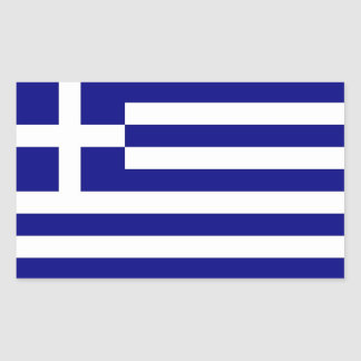Rectangle sticker with Flag of Greece