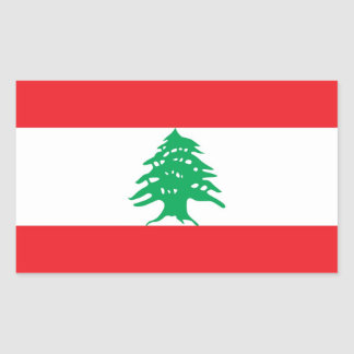 Rectangle sticker with Flag of Lebanon