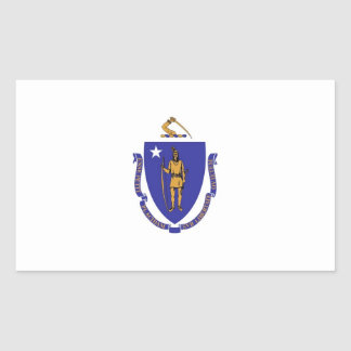 Rectangle sticker with Flag of Massachusetts