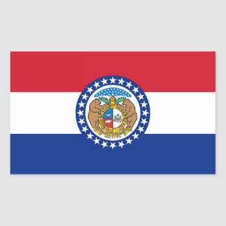 Rectangle sticker with Flag of Missouri U S A
