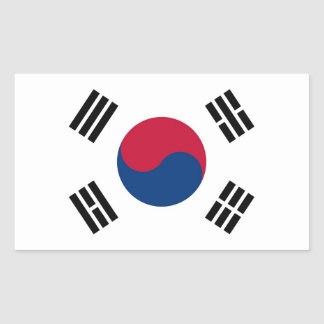 Rectangle sticker with Flag of South Korea