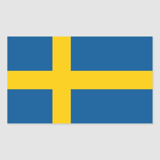 Rectangle sticker with Flag of Sweden