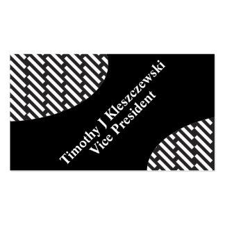 rectangular black & white Diagonal stripe rules Pack Of Standard Business Cards