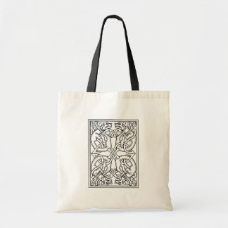 Rectangular celtic pattern black and white tote bag