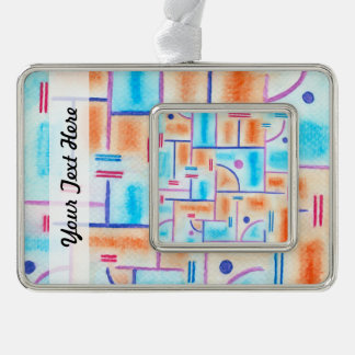 Rectangular Composition in Baby Blue and Orange Silver Plated Framed Ornament